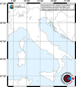 Segnalazioni degli effetti di terremoti pervenute nell'ultima ora
